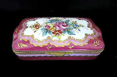 Antique French Porcelain Handpainted Trinket Box with Sèvres Mark