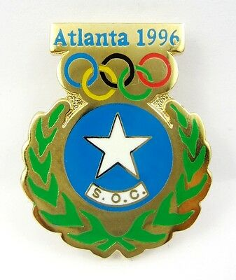 1996 Atlanta Olympic Games Somalia Olympic Noc Opin Badge Enamel & Gilt