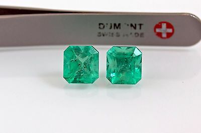 8mm 5.3 TCW Square Matched Pair Natural Colombian Emerald Loose Gemstone