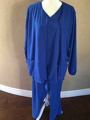 Jockey Scrub Set 3 Piece Top Pants Jacket Royal Blue Size XL
