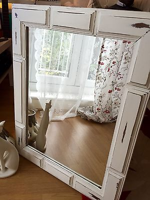 Beautiful Large Vintage Shabby Chic Solid Wood Rectangular Wall Mirror