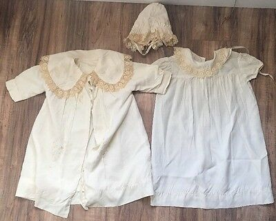FRENCH VICTORIAN Baby Doll GOWN Dress Coat Bonnet Lot Silk Lace