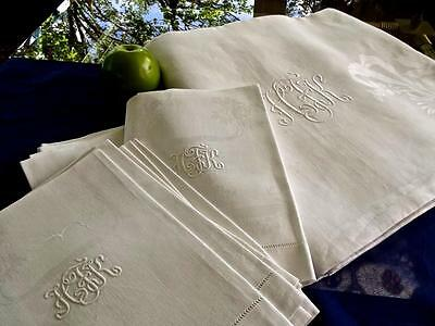 Vintage Damask Linen 70x108 Banquet Tablecloth 12 Napkins Monogram HFK Hemstitch