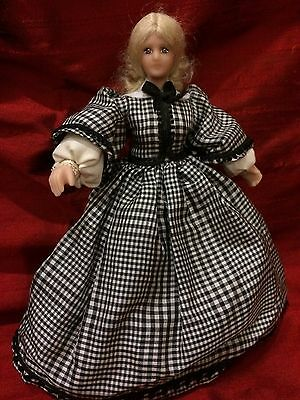 "Dollhouse Miniatures, 5"" Reproduction Dolls, Elaborate Victorian Dressed"