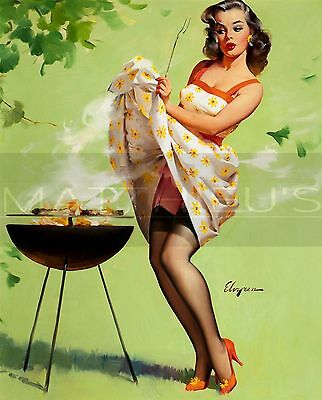 Gil Elvgren-Smoke Screen, Canvas/Paper Print, Pinup Girl, Grill