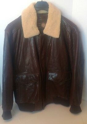 Men's Marc New York-Size 2Xl Brown Bomber Leather Jacket