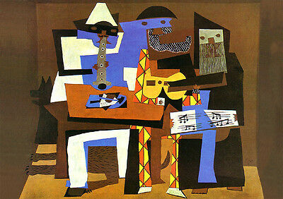 Pablo Picasso three musicians print on 300gsm satin card stock retro