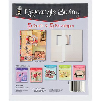 Hot Off The Press Die Cut Cards W/Envelopes 5/Pkg Rectangle Swing 34-24