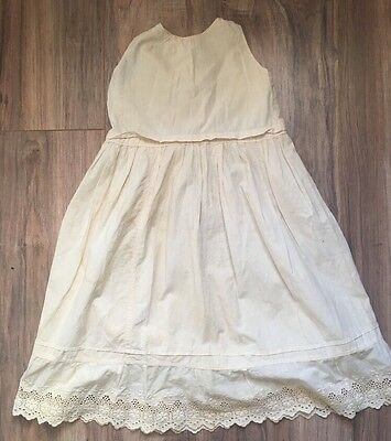 Antique Victorian Baby Fine Cotton Hand Embroidery Lace Christening Gown Dress
