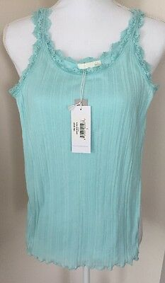 Skin Cotton Tank Top Sleepwear Ribbed Lace Jersey Aqua Blue  $68 Size 2