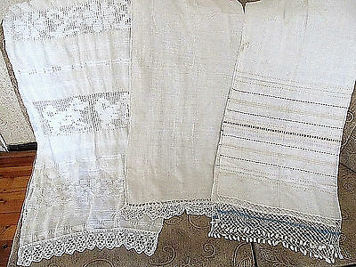 Old Primitive Antiques Hand Wooven Homespun Big Towels  Embrodiries - Lot Of 3