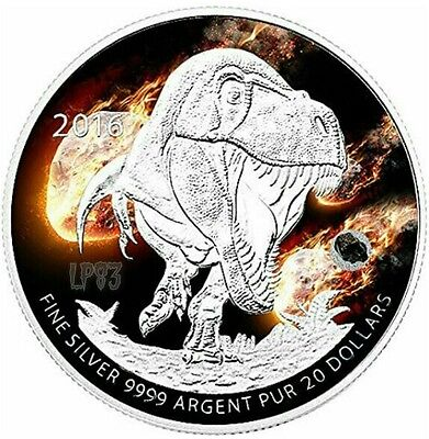 2016 Canadian $20 TYRANNOSAURUS Dinosaurs Silver Coin,With Real Meteorite Rock.