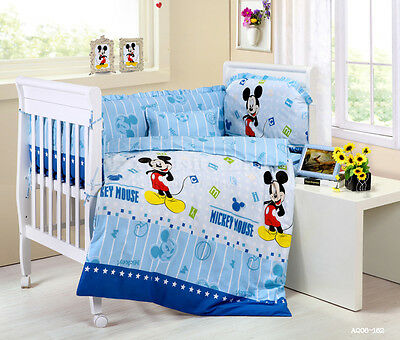 Baby Crib Cot Sets 9 Piece Blue Mickey Mouse Theme Nursery Bedding Sets Linen