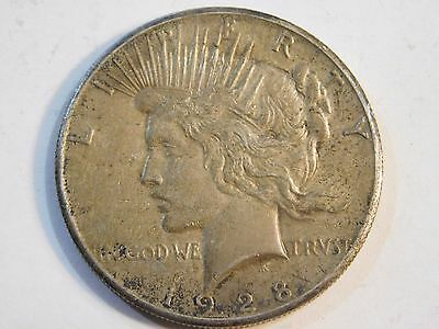 1928 United States Silver Peace Dollar $1 Coin Key Date Ungraded RARE