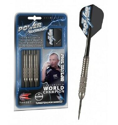 NEW TARGET PHIL TAYLOR SILVERLIGHT 22 gram  BRASS TUNGSTEN LOOK STEEL TIP DARTS