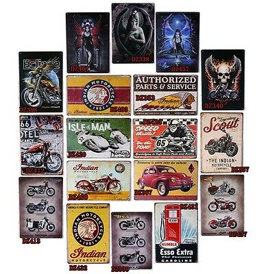 Antique Motorcycle Tin Metal Signs Decor Home Pub Bar Wall Retro Metal Cafe Art