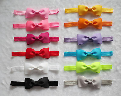 "12PCS 3.25"" Baby Toddler Girl hair bow Elastic headband headwear accessories~~"