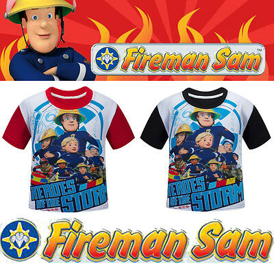 Kids Boy Fireman Sam Costume Short Sleeve Clothes Tops Summer T-shirt Tee Shirts