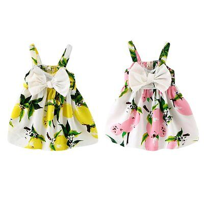 Infant Baby Girls Floral Lemon Dress Bowknot Sundress Kid Summer Clothes 0-3 Y