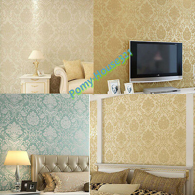 Wallpaper Roll Damask Embossed Feature 3D Textured Wall Paper Decal Home Decrota