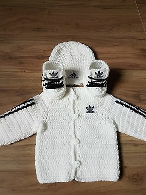 Handmade hand crochet baby cardigan/jacket, hat, shoes set for baby 0-3 months