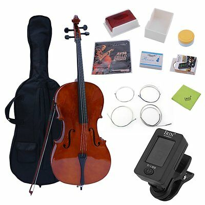 NEW FULL SIZE 4/4 ACOUSTIC CELLO STUDENT w/ TUNER, LESSON BOOK SOFTCASE SY