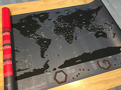 Deluxe Travel World Scratch Map Capitals Edition  Gift Poster Luckies style