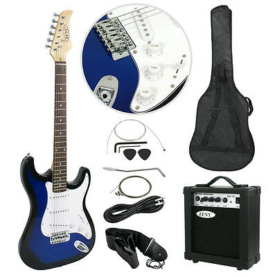 Blue Full Size Electric Guitar with Amp Case amp Gig Bag Case & Picks Beginner