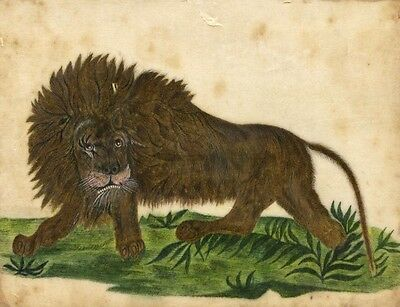 Antique 19th-century Painting on Chinese Pith, Lion