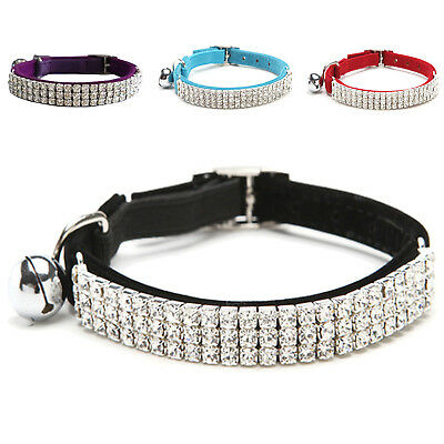 Collar Cat Baby Dog Safety Elastic Adjustable Diamante Rhinestone bell V5B6