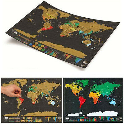 World Poster Scratch Off Large Map Deluxe Travel New 1Piece Personalized Edition