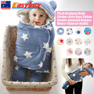 Plush Newborn Baby Clothes Sets Girls Boys Clothes Romper Winter Outwear Outfits