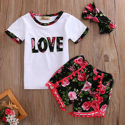 Toddler Kid Baby Girls Summer Outfits Clothes T-shirt Tops+Floral Pants 3PCS Set
