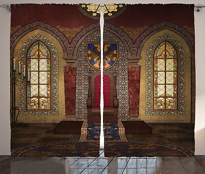 Gothic Curtains Medieval Palace Throne Window Drapes 2 Panel Set 108x90 Inches