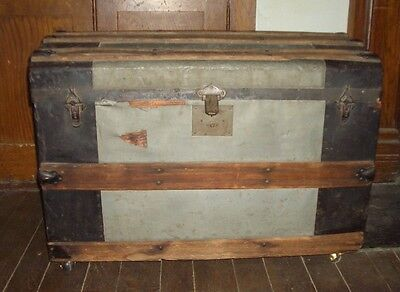 Vintage Tin covered Wooden Trunk