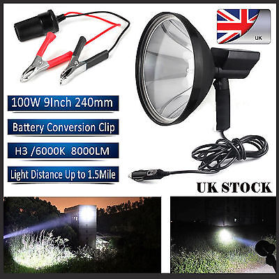 9 Inch 240mm Handheld Hunting Spotlight H3 HID Spot Beam 100W With Battery Clip