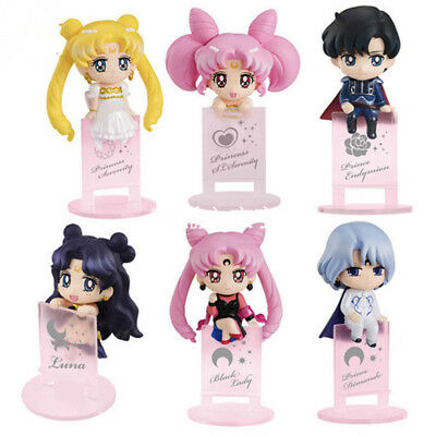 New Sailor Moon Tsukino Usagi Black Lady Quality 6pcs Set 5cm Figuren Figur NB