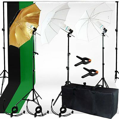 2017 Photo Studio Photography Kit 3 Light Bulb Umbrella Muslin 3Backdrop Stand