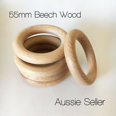 5x organic Beech Wood 55mm rings round raw unfinished teething jewellery DIY
