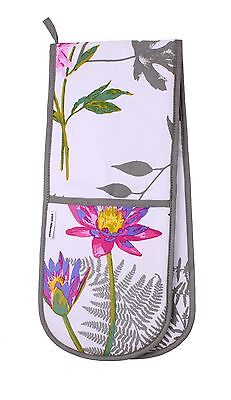Mokuren Graphite Fabric Double Oven Glove from Designers Guild -Oriental Flowers