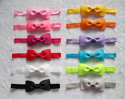 "12PCS 3.25"" Baby Toddler Girl hair bow FOE Elastic headband hair accessories"