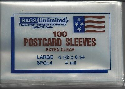 """100 New Bags Unl. 4-mil Extra Clear Euro Postcard Sleeves 4-1/2"""" x 6-1/4"""" SPCL4"""