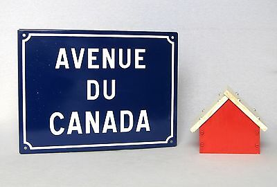 "VINTAGE FRENCH ENAMELED STREET SIGN ""Avenue of CANADA"", very near mint"