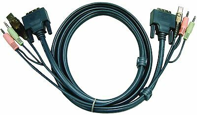 Aten KVM Cable DVI-D 18+1-Pin Male/USB A Male/2x 3.5mm Male to DVI-D 18+1-Pin 3m