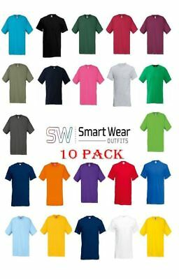 10 Pack Fruit of the Loom 100% Cotton Mens Plain T-Shirts  61082