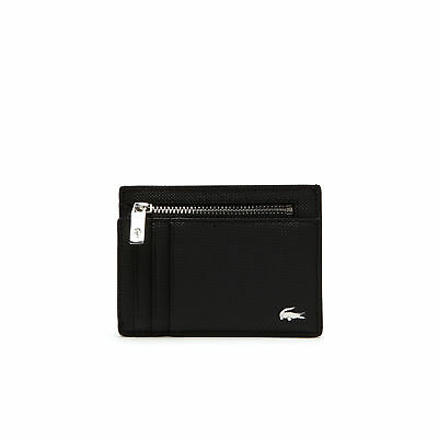 Mens Lacoste Edward Coated Leather Card Holder Wallet Black Tricolor Accents