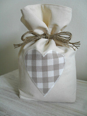 Cotton Door Stop With Laura Ashley Truffle / Dark Linen Gingham Fabric Heart