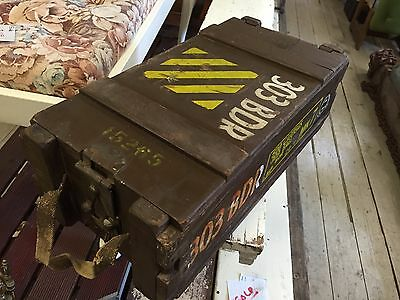 Vintage 1950's Wooden Ammo Ammunition Box Crate MK7 303 Ball Cartges Explosive