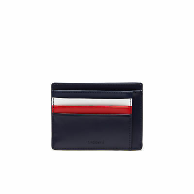 Mens Lacoste Edward Coated Leather Card Holder Wallet Navy Blue Tricolor Accents