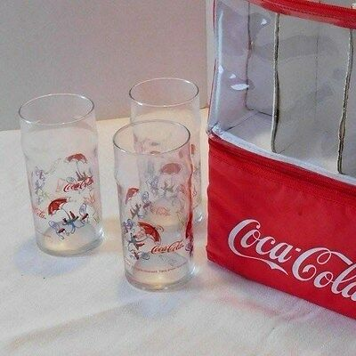 Coca Cola Insulated Tote Cooler Bag Six Pack w/ 6 Coke Anchor Hocking Glasses